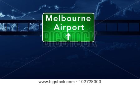 Melbourne Australia Airport Highway Road Sign At Night