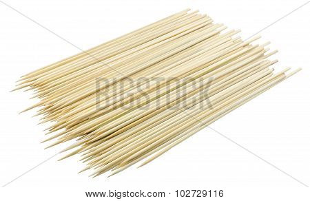 Stack Of Bamboo Skewers On White Background