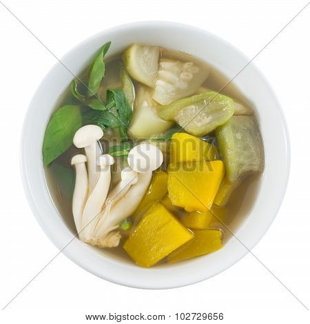 Top View Of Thai Spicy Mixed Vegetables Soup