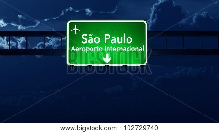 Sao Paulo Brazil Airport Highway Road Sign At Night