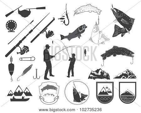 Set of fishing icons and icons.Silhouettes of fishermen.