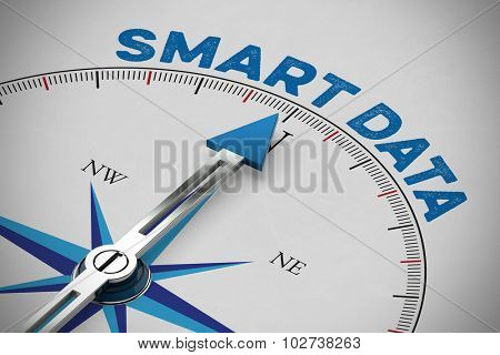 Blue arrow of a compass pointing to Smart Data concept (3D Rendering)