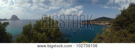 Panoramic view of Es Vedra, in Ibiza, Balearic Islands