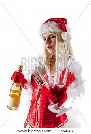 Sensual Mrs. Santa With Champagne Bottle