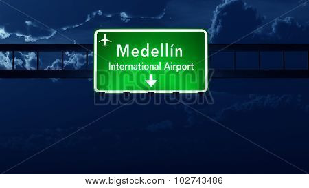 Medellin Colombia Airport Highway Road Sign at Night 3D Illustration poster