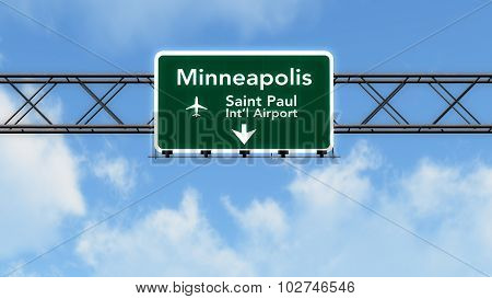 Minneapolis Usa Airport Highway Sign