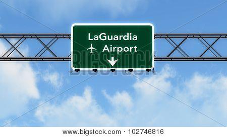 New York Laguardia Usa Airport Highway Sign