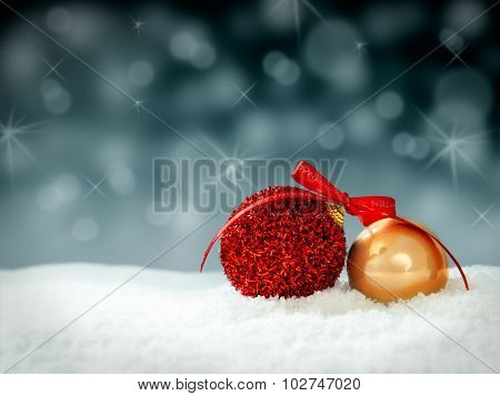 christmastree decoration snowballs for card or background