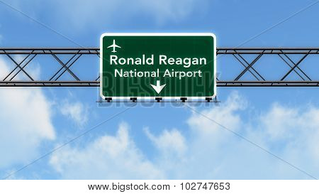 Washington Dc Reagan Usa Airport Highway Sign