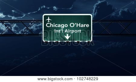 Chicago Ohare Usa Airport Highway Sign At Night