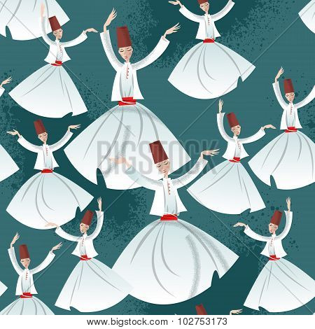 Whirling Dervishes. Seamless background pattern. Vector illustration poster