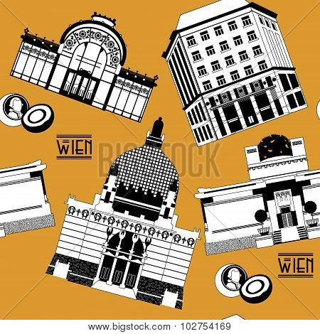 Sights of Vienna. Austria. Europe. Seamless background pattern. Vector illustration poster