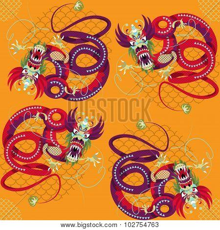 Chinese New Year. Dragon Dance. Seamless Background Pattern.