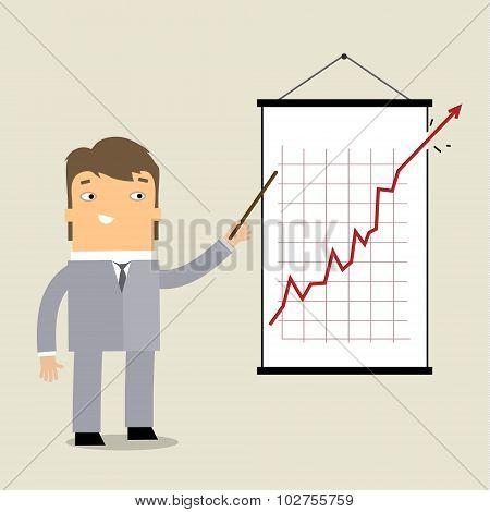 Business man at chart