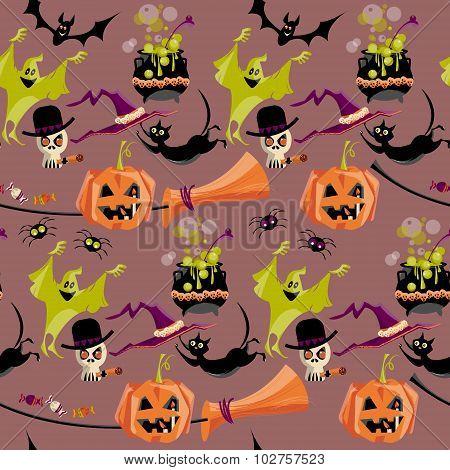 Set of traditional Halloween elements. Broom cauldron cat hat bat candy ghost spider pumpkin skull. Seamless background pattern. Vector illustration poster