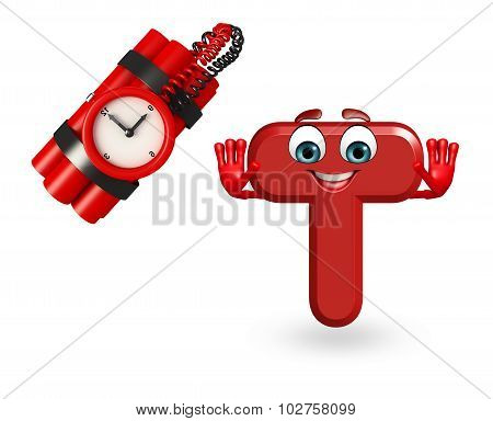 Cartoon Character Of Alphabet T With Timebomb
