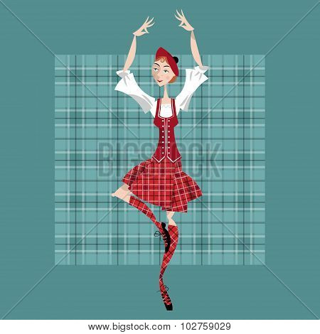 Dancing Scottish Girl In National Clothes. Scottish Highland Dancing.