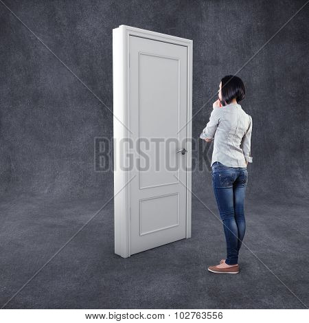 Girl Before A Door