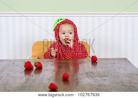 Cute Baby In Strawberry Suit