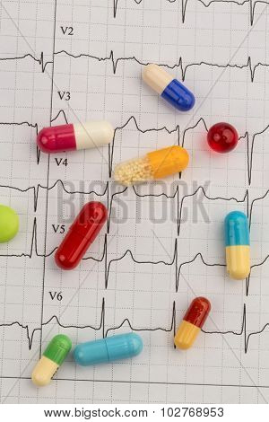 several pills are on an ekg. symbolic photo for diseases of heart and circulation