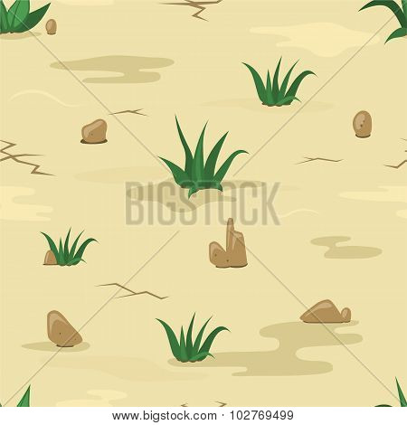 Sand texture with stones and grass