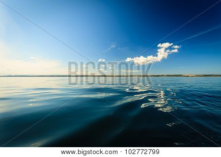 Beautiful seascape evening sea horizon and sky. Tranquil scene. Natural composition of nature. Landscape. poster