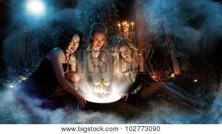 Three Beautiful Witches Are Making Magic. Dark Forest On The Background.