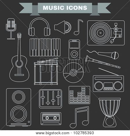 Music Instruments And Gadgets Big Vector Icon Set