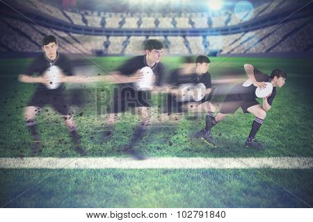Rugby player running with the rugby ball against rugby pitch