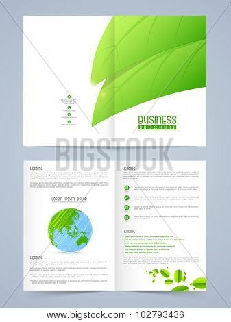 Creative Nature conceptualize, Professional Brochure, Flyer, Banner or Template design with fresh green leaves.