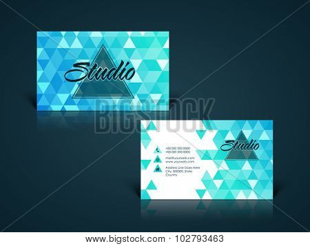 Stylish professional horizontal business card, calling card, name card or visiting card set in blue and white colors.