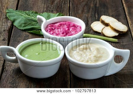 Three Different Kinds Hot Spices Cooked Of Horseradish