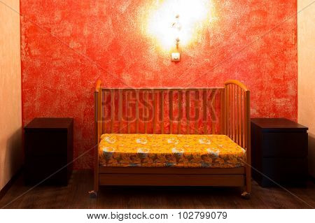 Cot In The Bedroom At The Red Wall