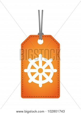 Isolated Label Icon With A Dharma Chakra Sign