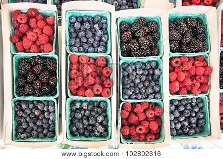 Top View Close Up Of Berries Variation At Food Market - Exotic Fruit Composition Of Berries
