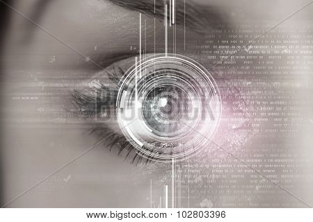 Close up of woman's eye scanned for access poster