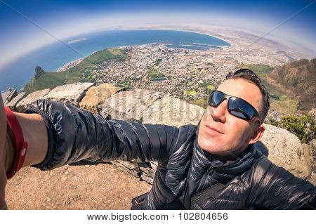 Modern Handsome Young Man Taking Selfie At Table Mountain In Cape Town - Adventure Travel Lifestyle