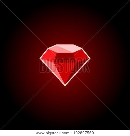 Red Ruby Gemstone Icon on a Black Background. Vector