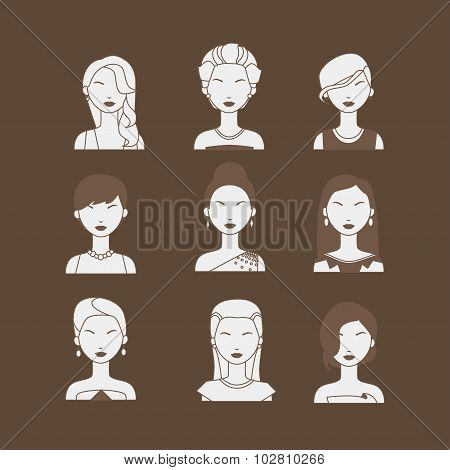 Set Of Beautiful Woman Faces With Evening Makeup And Dress, Isolated