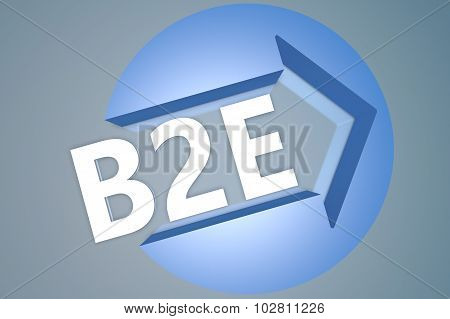 B2E - Business to Employee - text 3d render illustration concept with a arrow in a circle on blue-grey background poster