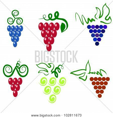 Grapes Isolated. Grapes Icon. Grapes Logo Design. Nature Grapes Logotype. Vine Logo Icon. Fruits and Vegetables Icons. Grapes Icons. Grapes vine. Grapes with Green Leaf Isolated. Silhouettes of Grapes.