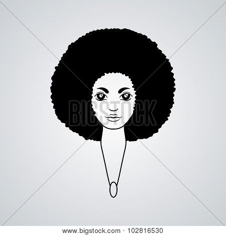 Portrait of a woman with luxuriant hair in the style of an African. Vector.