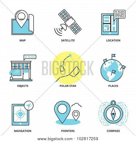 Navigation and location vector icons set: map satellite location objects polar star places navigation pointers compass. Modern line style poster