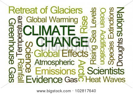 Climate Change Word Cloud on White Background poster