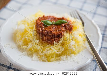 Spaghetti squash with pesto