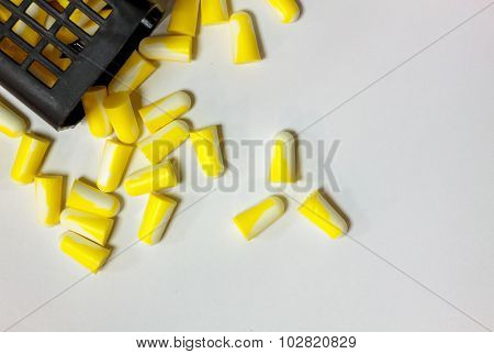 Selective Focus Ear Plug,basket On White Background.
