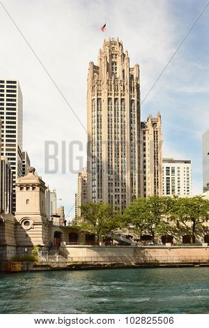 CHICAGO, ILLINOIS - AUGUST 22, 2015: Tribune Tower. Completed in 1925 in the Gothic style, the Tribune Tower is one of the most recognizable buildings in Chicago.