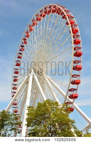CHICAGO, ILLINOIS - AUGUST 22, 2015: Navy Pier Ferris Wheel. The current Ferris Wheel is slated for replacement with a modern and larger wheel, scheduled to open in 2016.