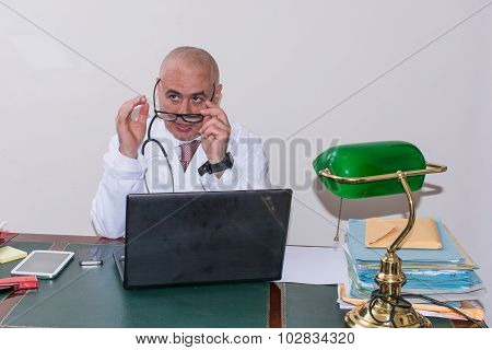 Aback Doctor In His Studio.