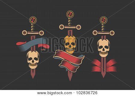 Set Of Vintage Skull